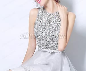 cocktail dress, grey dress, and prom dress image