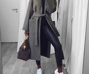 coat, jeans, and leather image