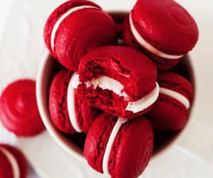 food, red, and macaroons image