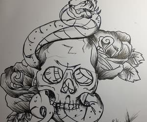 roses, sketch, and skull image