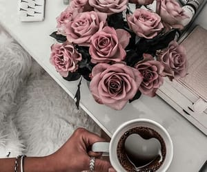 rose, coffee, and beauty image