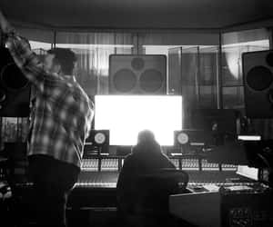 black and white, music, and studio image