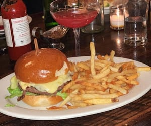 burger, drink, and lifestyle image