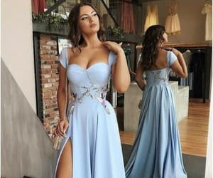 beauty, blue dresses, and dresses image