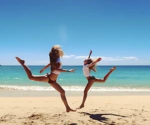beach, beautiful, and gymnastics image