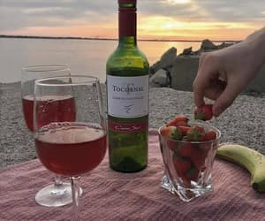 wine, strawberry, and sunset image