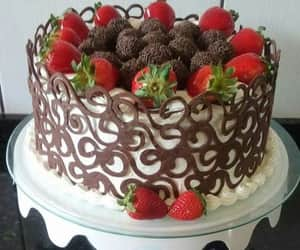 cake, pastel, and strawberries image
