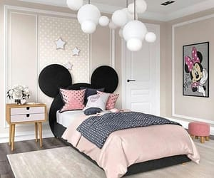 bed room, home, and pink image