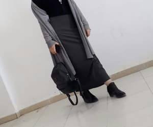 grey skirt, hijabista, and winter hijab style image