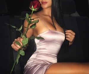 brunette, rose, and love image