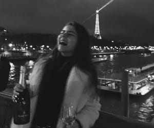 b&w, black and white, and champagne image