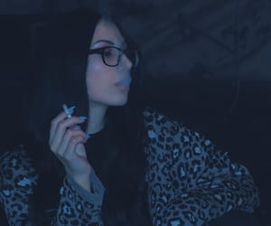black hair, blue, and cigarette image