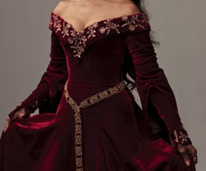 dark red, dress, and golden image