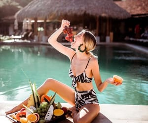 bikini, fruit, and print image