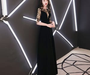a-line, sequins, and suede floor-length image