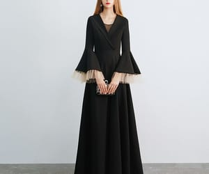 black dress, unique dress, and long dress image