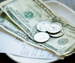 money, restaurant, and tip image