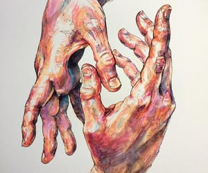 art, hands, and painting image