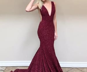 prom dress, prom dresses, and v neck prom dress image