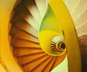 spiral, stairs, and yellow image