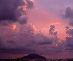 clouds, Island, and pink light image