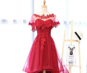 prom dresses, red prom dress, and short prom dress image