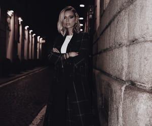 blonde hair, coat, and fashion image