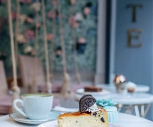 cafe, cheesecake, and coffee image