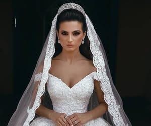 wedding dress, crown, and veil image