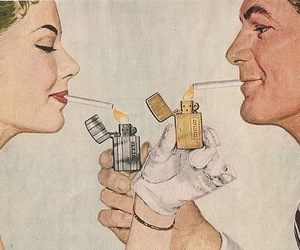 cigarette, smoke, and couple image