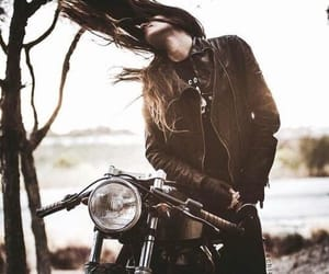 motorcycle, girl, and motorbike image