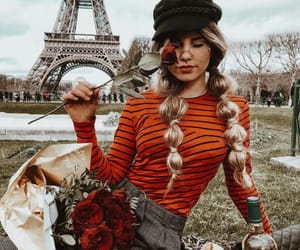 eiffel tower, flor, and girl image