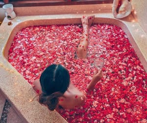 bath, water, and flowers image