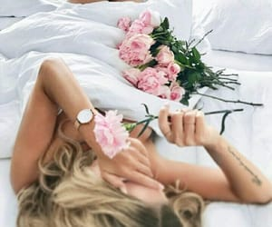 bed, flowers, and nature image