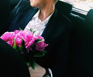 flowers, love, and man image