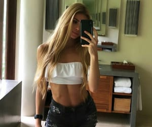 blond hair, summer clothes, and fit image