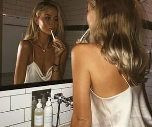 girl, mirror, and makeup image
