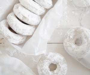 white, donuts, and food image