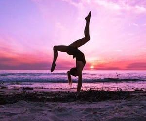 girl, gymnastics, and beach image