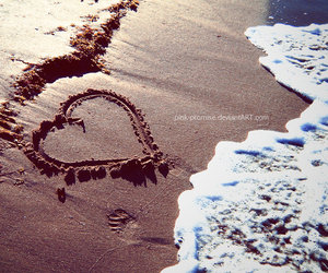 beach, sand, and love image