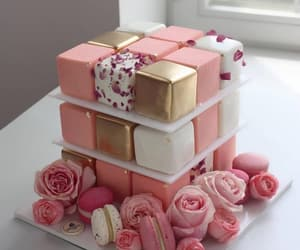 cake, pink roses, and dessert cakes image