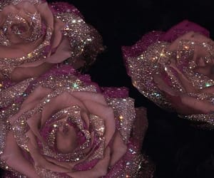 glitter, rose, and flowers image