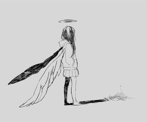 anime, angel, and black and white image