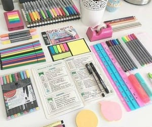 desk, supplies, and writing image