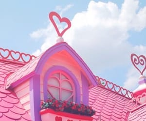 blue, house, and pink image