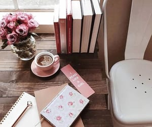 books, coffee, and pink image