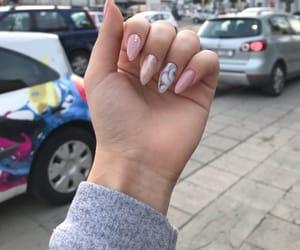 nails, pink nails, and white nails image
