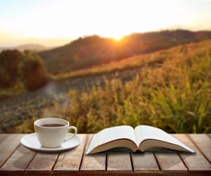 book, coffee, and sunrise image