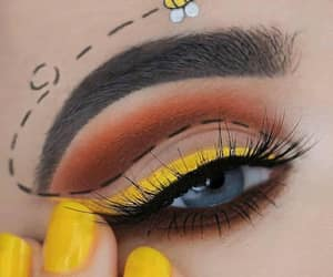 babe, eye liner, and yellow image