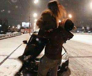 cold, couple, and hug image